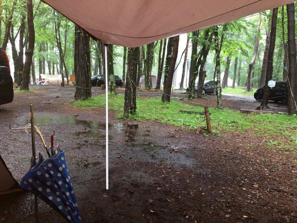 雨の日キャンプ